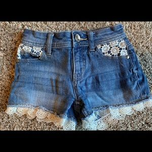 Justice jean shorts with lace pockets & cuffs
